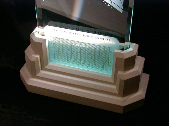 Spectra sundial base with time chart