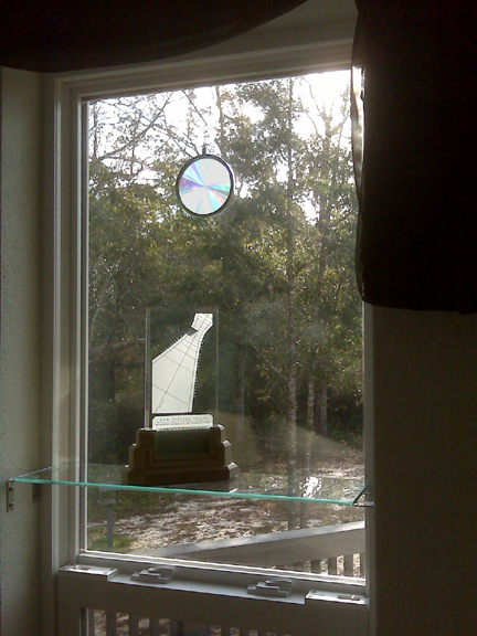 This Spectra sundial enjoys pride of place in its own special window.
