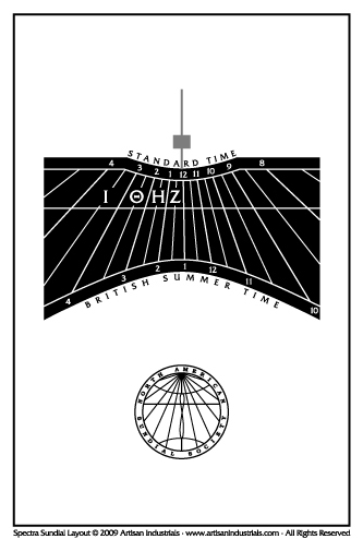 Spectra sundial layout for Bedlington, Northumberland, England (UK)