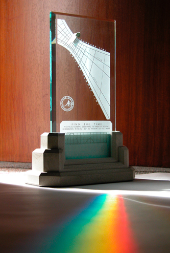 A Spectra sundial marks a colorful moment in time