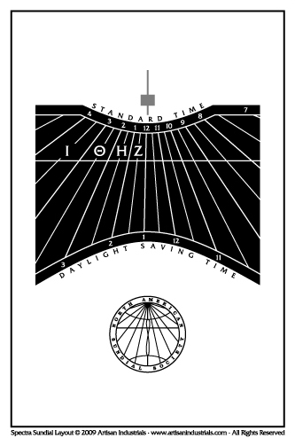 Spectra sundial layout for Burlington, Vermont USA