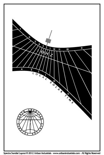 Spectra sundial layout for Cambridge, Cambridgeshire, England (UK)