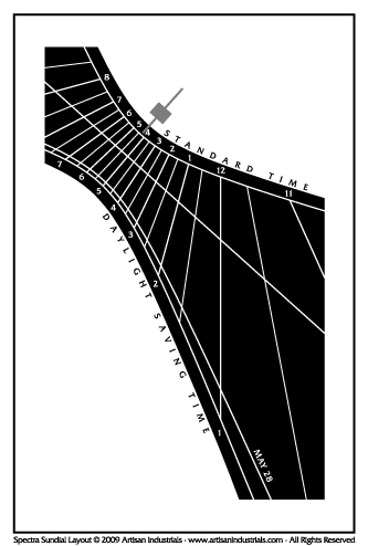 Spectra sundial layout for Canaan, Connecticut USA