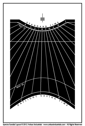 Spectra sundial layout for Hollywood, California USA