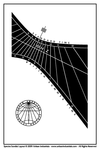 Spectra sundial layout for Ipswich, Suffolk, England (UK)