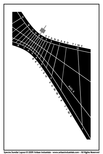 Spectra sundial layout for Meir Heath, Stoke-on-Trent, Staffordshire, England (UK)