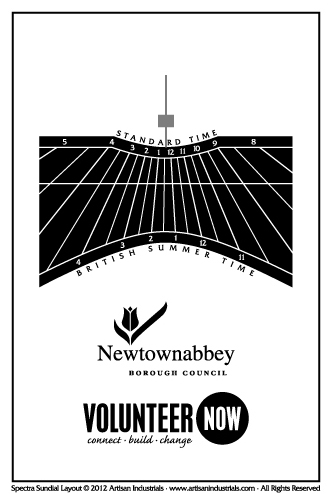 Spectra sundial layout for Newtownabbey, Northern Ireland (UK)