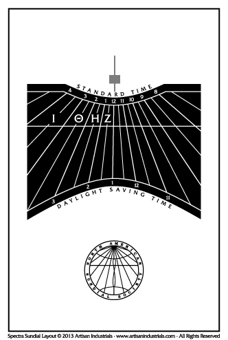 Spectra sundial layout for Outremont, Quebec, Canada
