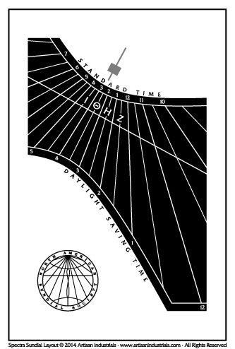 Spectra sundial layout for Potomac, Maryland USA