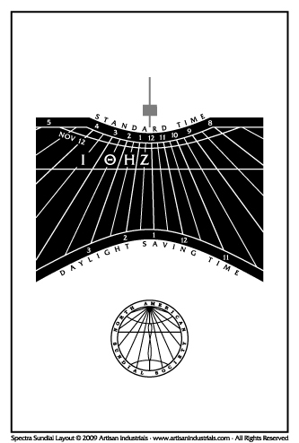 Spectra sundial layout for Seattle, Washington USA